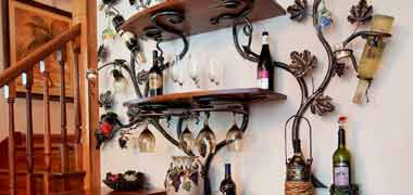 Forged Iron Wall Wine Racks and Candle holders - e metalworks, Ozaukee County WI